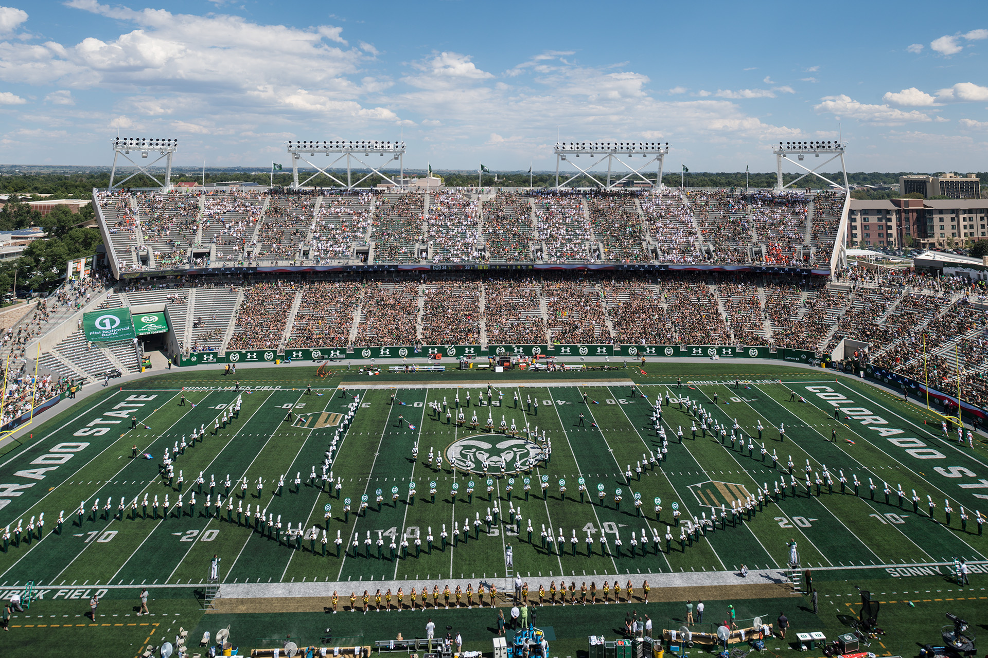 CSU Marching Band formation on the csu stadium field
