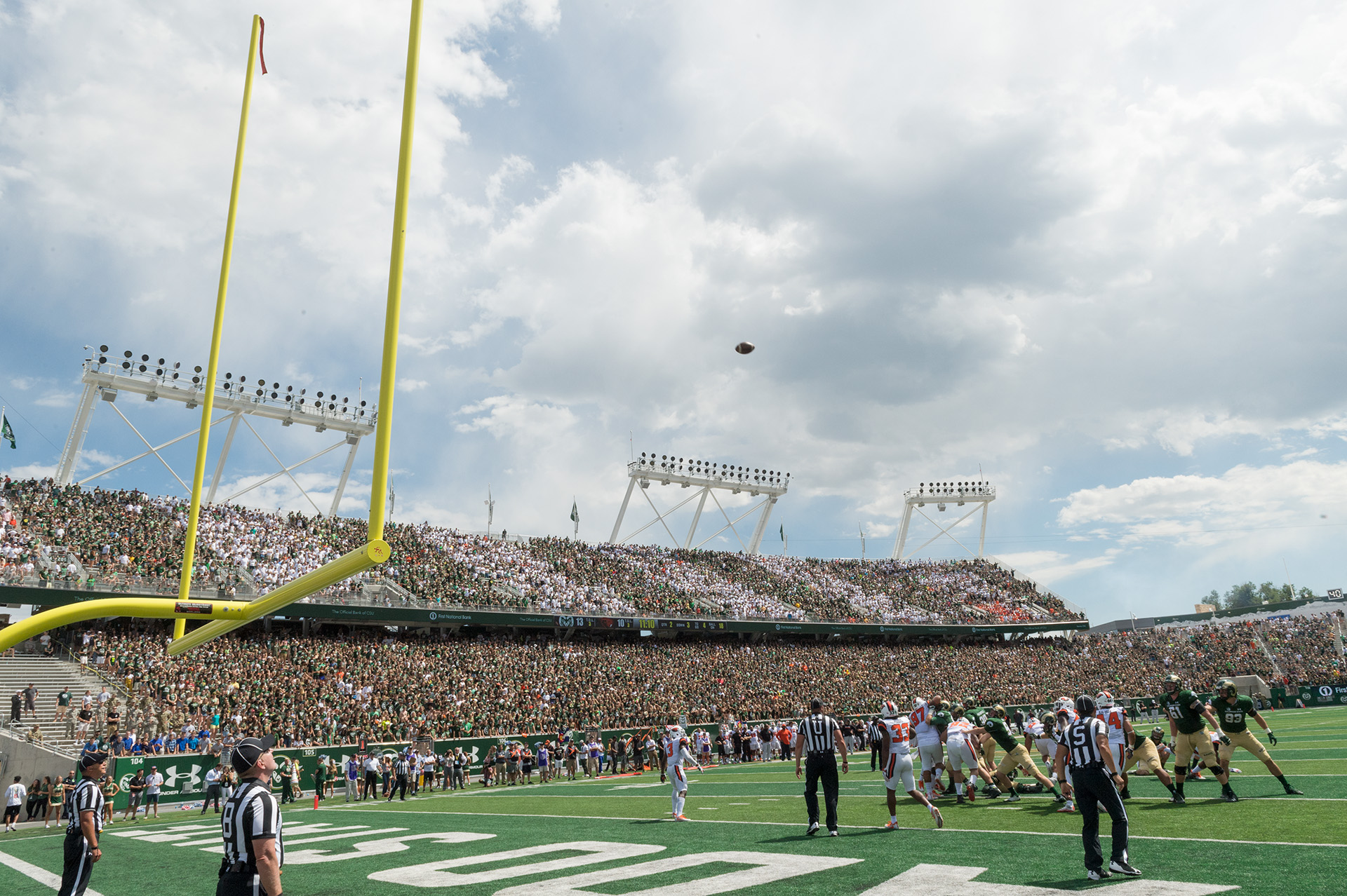 view of the crowd from the field of csu stadium