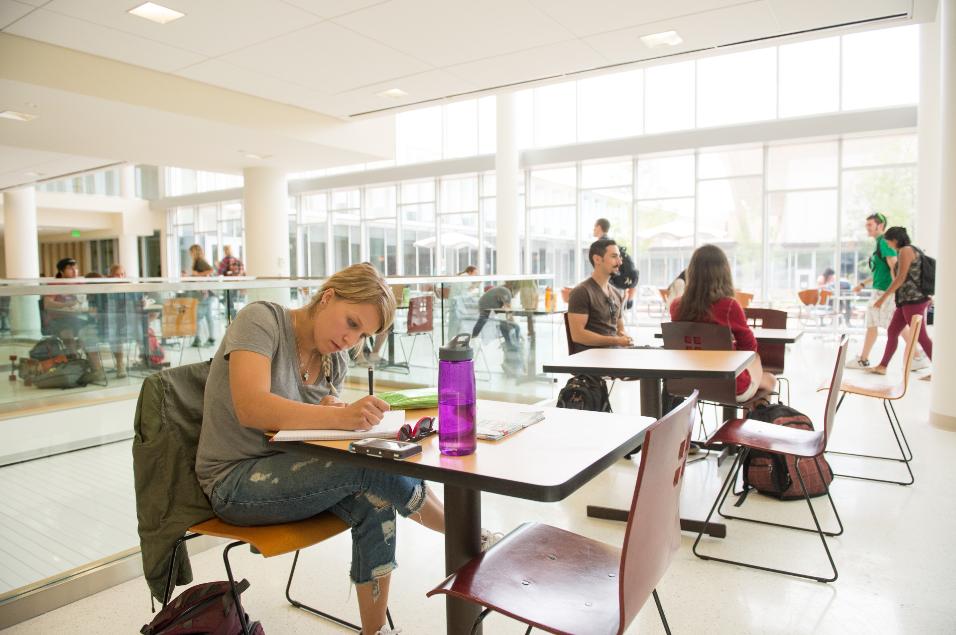 students studying in the lory student center