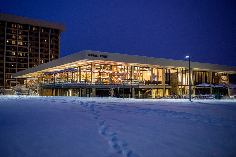 exterior of the durrell center at night
