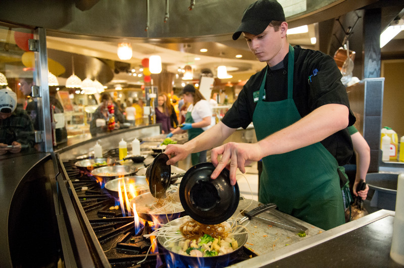 employee cooking in the durrell center