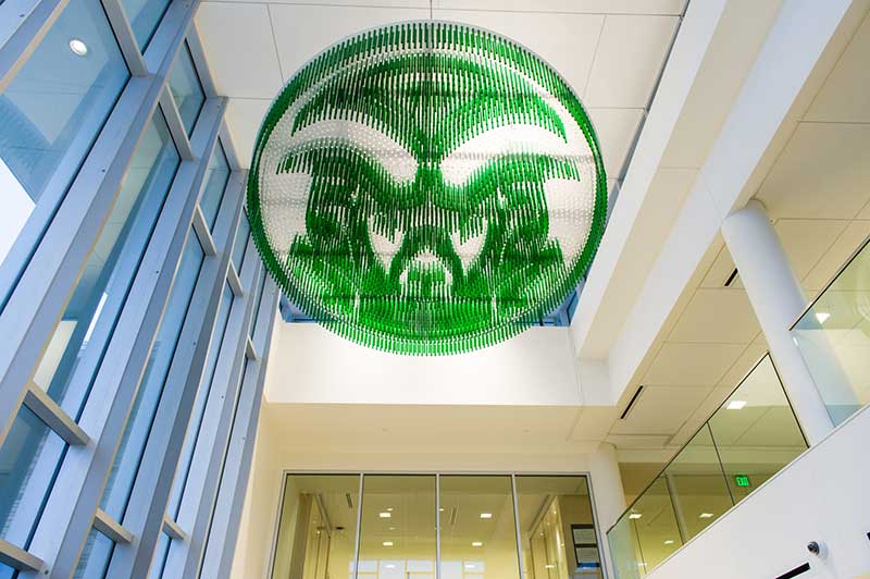 hanging ram head art in lory student center lobby