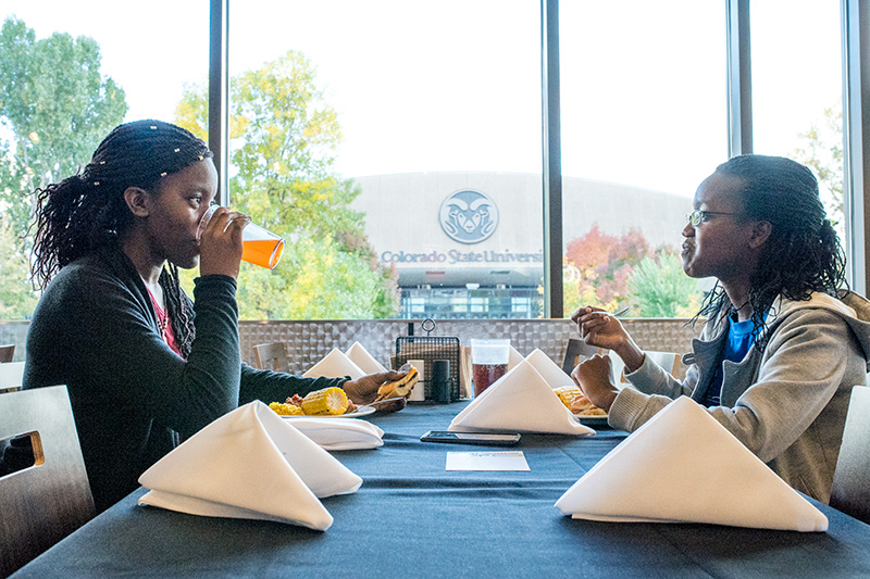 two students dining in the durrell center