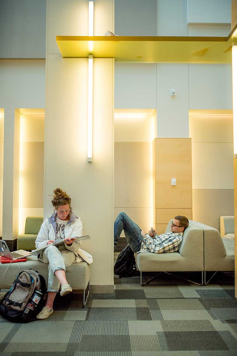 students studying in behavioral sciences lobby