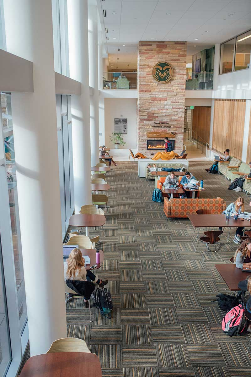 students studying in lory student center atrium