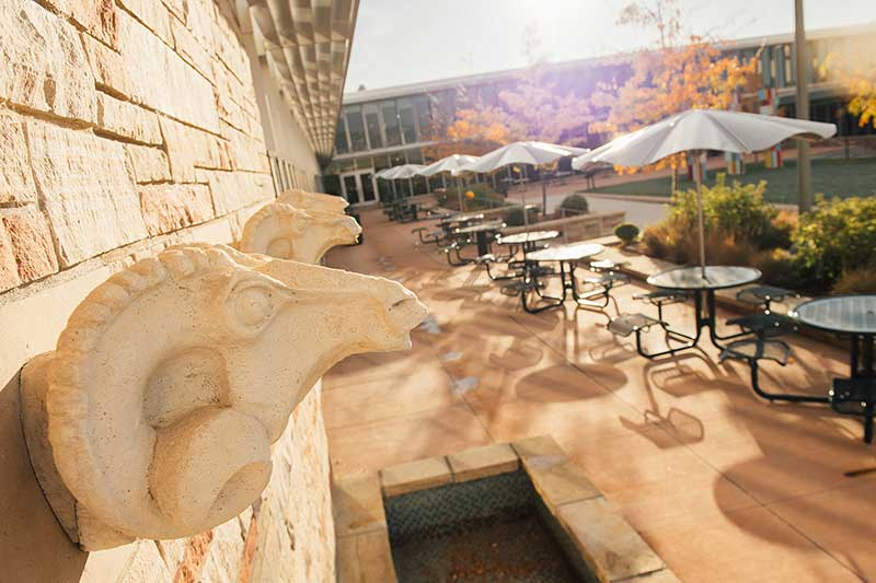 ram head fountains in lory student center courtyard