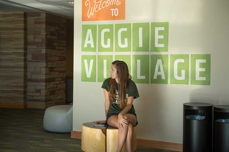 female student in aggie village lobby