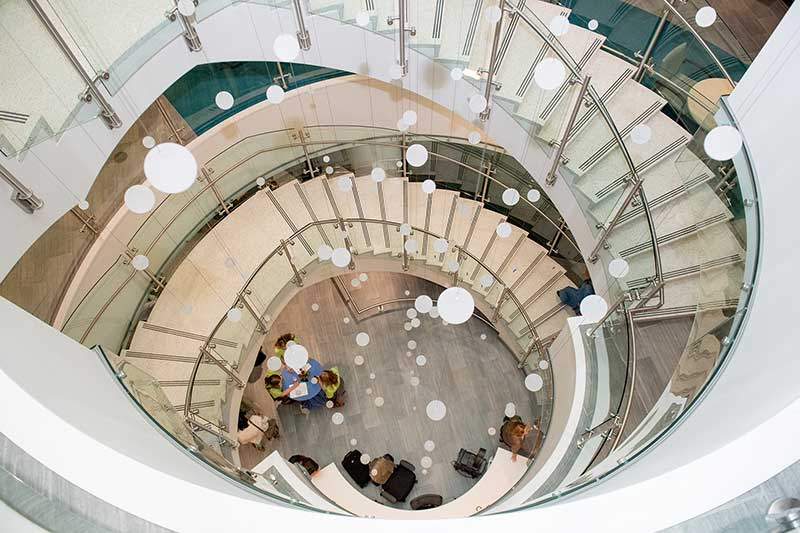 looking down at atrium in health and medical center