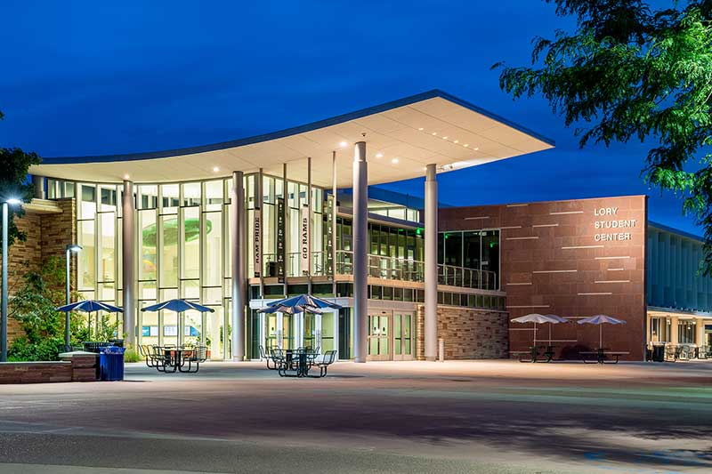 front of lory student center at night