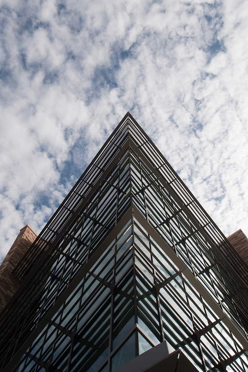 looking up at side of biology building