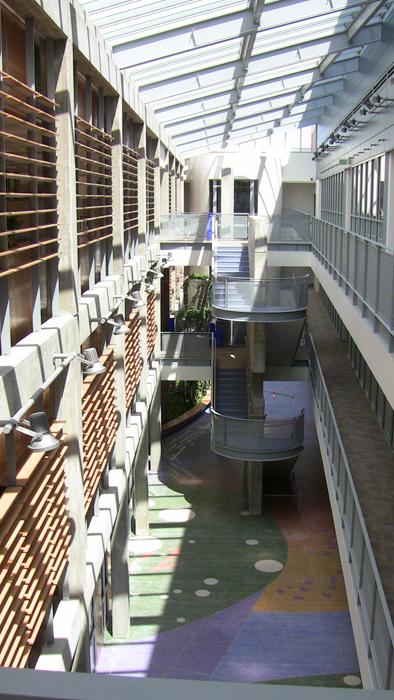 diagnostic medicine center lobby from third floor