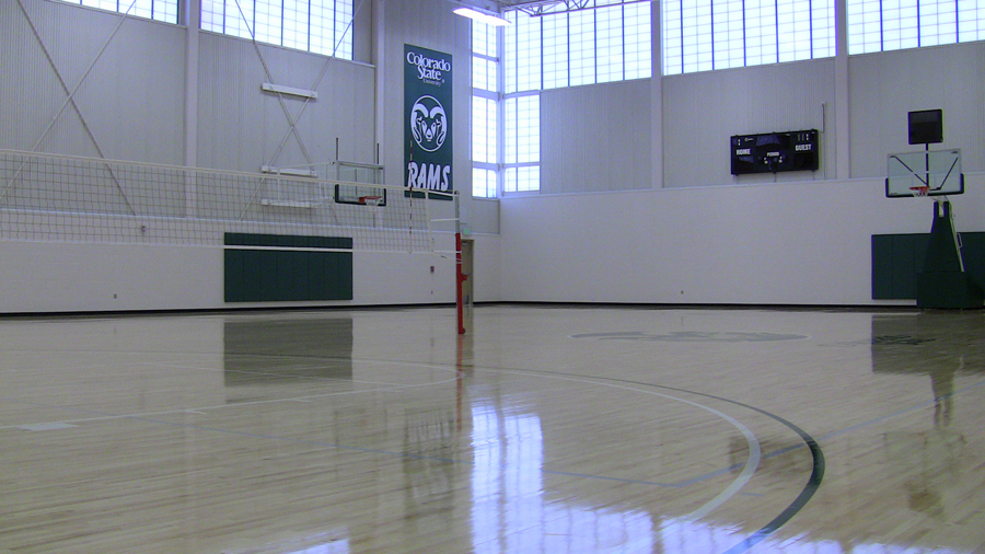 indoor practice facility basketball and volleyball court