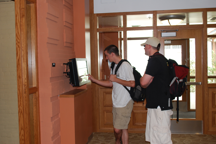 students using computer information station