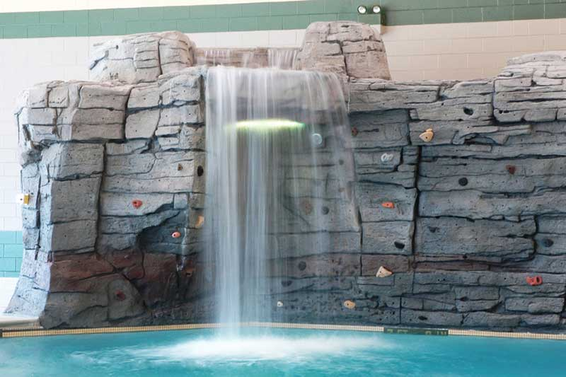 rec center waterfall and climbing wall