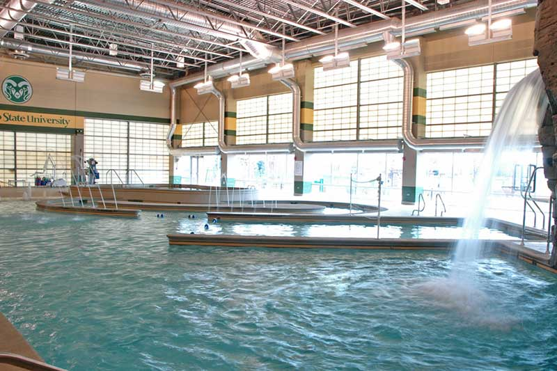 rec center pool waterfall and lazy river