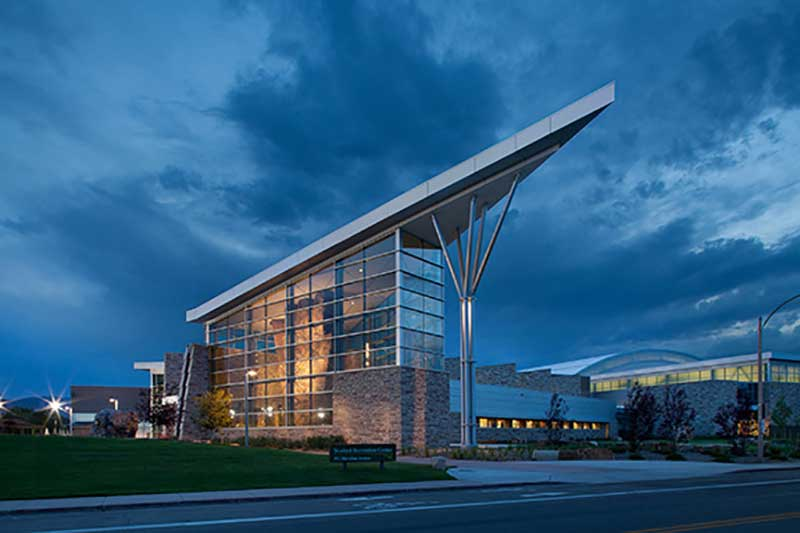 front of student recreation center at dusk