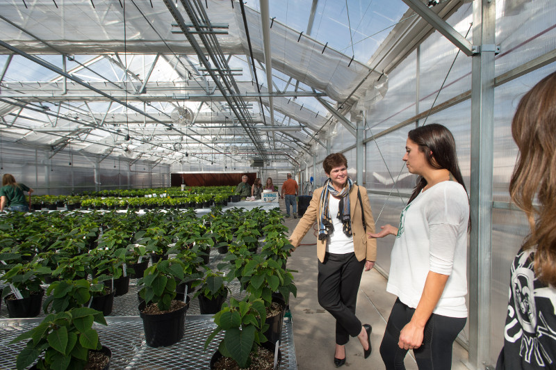 Deputy Secretary of Agriculture Krysta Harden meets with students in Colorado State University's new Horticultural Center