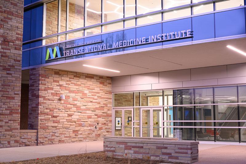 C. Wayne McIlwraith Translational Medicine Institute main entrance at night